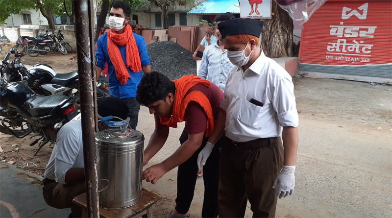 राष्ट्रीय स्वयंसेवक संघ शाहपुर ने उपखण्ड भौरा में किया औषधीय काढ़े का वितरण